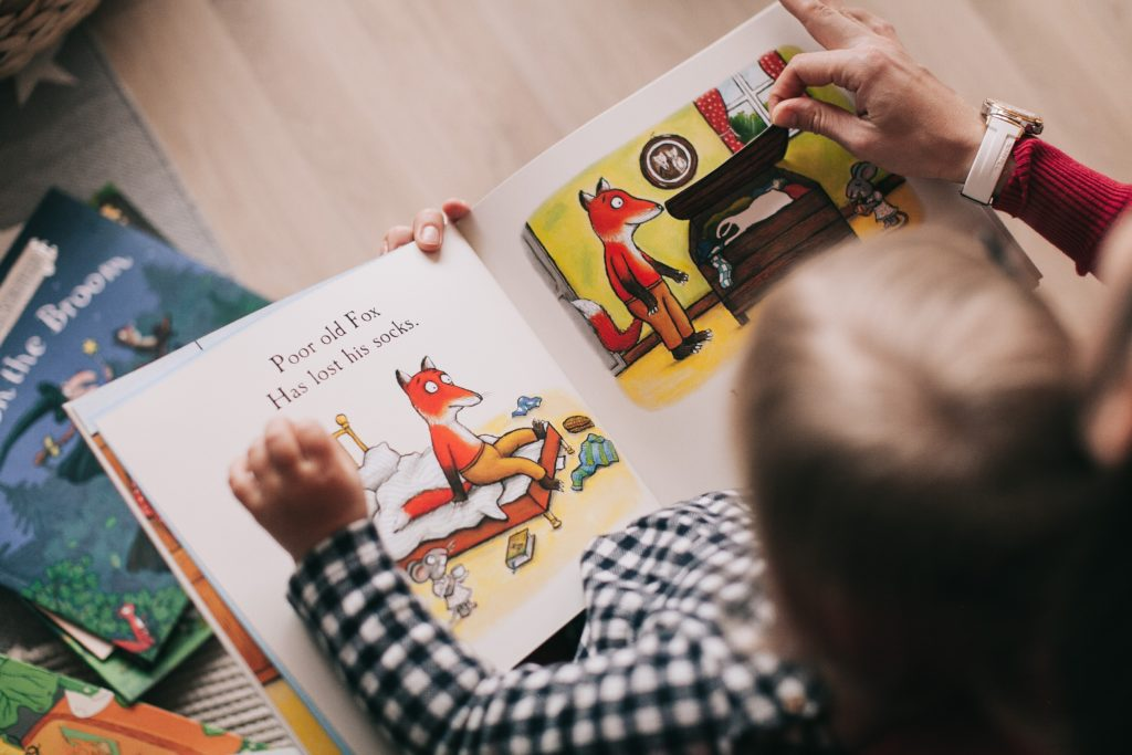 A little boy reads a children's book